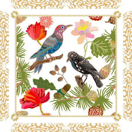 Blooming  flowers, pine branches, acorns, birds and geometric frame. Vintage textile collection. Colorful on white. 矢量图像