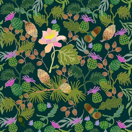 소나무 분기, 도토리, 엉 겅 퀴 및 꽃 꽃 인쇄. 빈티지 섬유 컬렉션입니다.