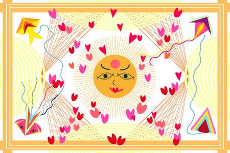Sun with hearts  pattern with Indian motifs. Ethnic textile collection.