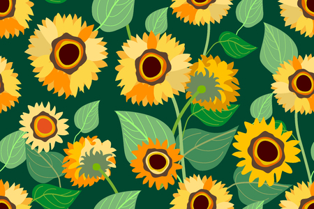 Seamless vector pattern with floral motifs inspired by folk art. Retro textile collection.