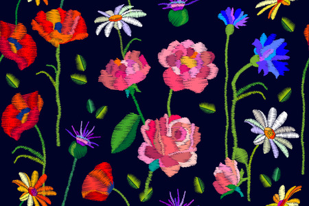 Seamless vector pattern with roses, poppies and tulips. Vintage motifs. Retro textile collection.