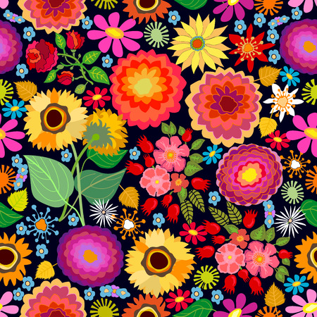 Seamless vector pattern with different floral elements. Chrysanthemums, asters and wildflowers on brown background. Japanese, Chinese, Korean motifs. Vintage textile collection.