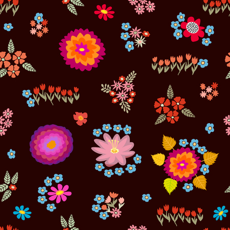 Seamless vector pattern with different floral elements. Chrysanthemums, asters, wildflowers on brown background. Japanese, Chinese, Korean motifs. Vintage textile collection.