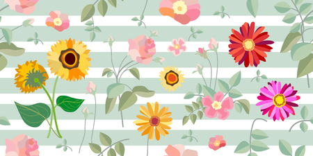 Seamless vector pattern with Victorian motifs. Floral composition for textile design, cards and web design.
