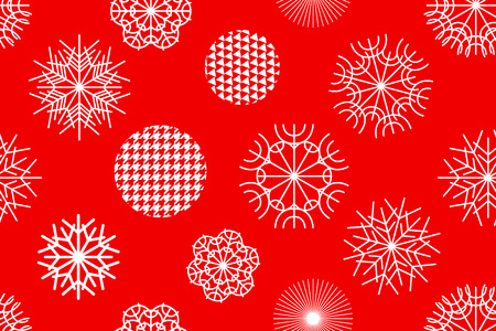 stripped: Snowflakes and circles with different ornaments. Retro textile collection.
