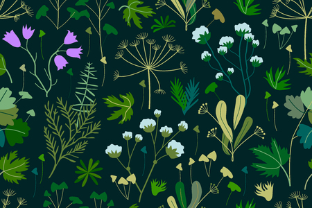 Seamless pattern with Victorian motifs. Botanical illustration with different floral elements. Vector for textile design, cards, web design.