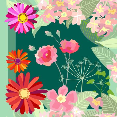 Silk scarf with flowers and leaves on dark green background. Vintage textile collection.