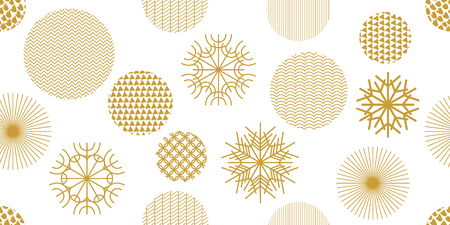 Snowflakes and circles with different ornaments. Retro textile collection. On white background.