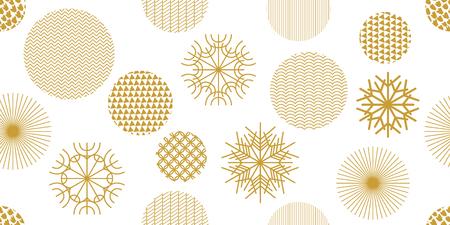 Schneeflocken und Kreise mit verschiedenen Verzierungen. Retro Textilkollektion. Auf weißem Hintergrund.