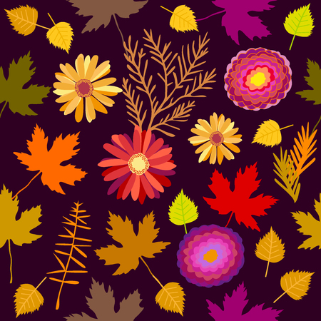 Seamless vector pattern with gerbera, asters, birch and maple leaves. 1950s-1960s motifs. Retro textile collection. On purple background. Illustration