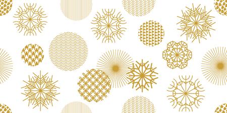 Copos de nieve y círculos con diferentes ornamentos. Colección textil retro. En el fondo blanco.