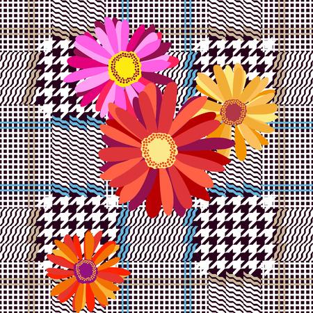 Seamless hounds tooth pattern. Textile design for school uniform, plaids, scarfs. Illustration