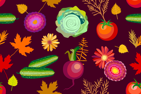 Cucumbers, cabbage, tomatoes, beet and asters inspired by folk art. Colorful set for textile design, cards and web design. Illustration
