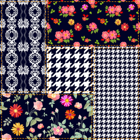 Set of checkered and floral seamless vector patterns. Vintage composition with roses, dog roses and gerbera. Retro textile collection.