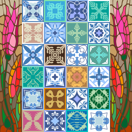 crosses: Ornaments for hamam, bathroom, kitchen design. Architectural collection, blue, pink palette.