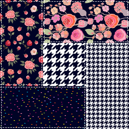 Set of checkered and floral seamless vector patterns. Vintage composition with roses. Retro textile collection.
