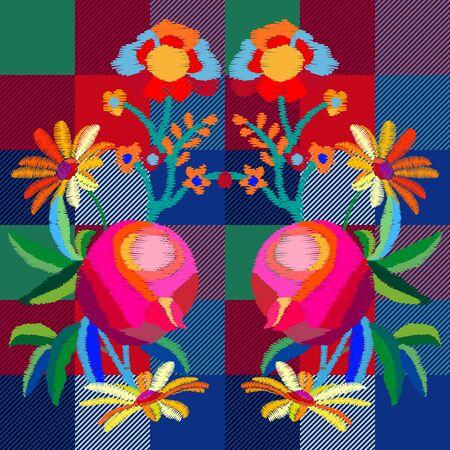 Textile floral design for dresses, bags, plaids and napkins. Illustration