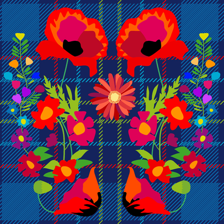 Stylized embroidery on checkered fabric inspired by folk art. Creative vector pattern with Spanish motifs. Retro design collection.