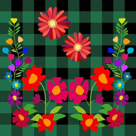 cotton bud: Stylized embroidery on checkered fabric inspired by folk art. Creative vector pattern with Spanish motifs. Retro design collection.