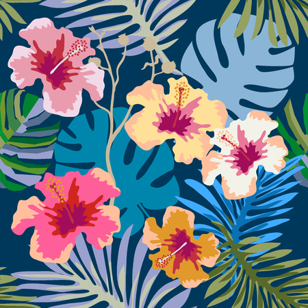 Seamless vector pattern with palm leaves and hibiscus flowers on white background. Design for shirts, dresses, bags and cards. Illustration