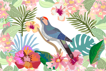 Seamless vector print with blooming exotic flowers and leaves.