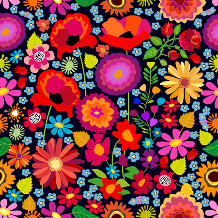 Seamless vector pattern with asters, chrysanthemums, poppies and sunflowers