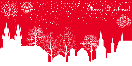 Christmas illustration with buildings and trees. Template for cards, invitations, tickets and covers.
