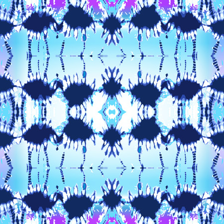 Grunge print for scarfs, dresses, shirts, cushions. Ethnic textile collection in blue. Illustration