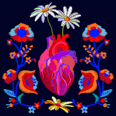 Trendy bohemian illustration with stylized embroidered texture. Composition for textile design and Valentines Day cards like heart and flowers. Illustration