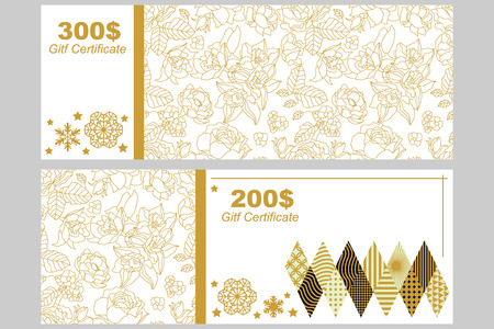 Golden floral ornaments with oriental motifs on white background.