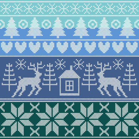 Stylized cross stitch embroidery. Set of vector borders. Trees, deer, geometric ornaments.
