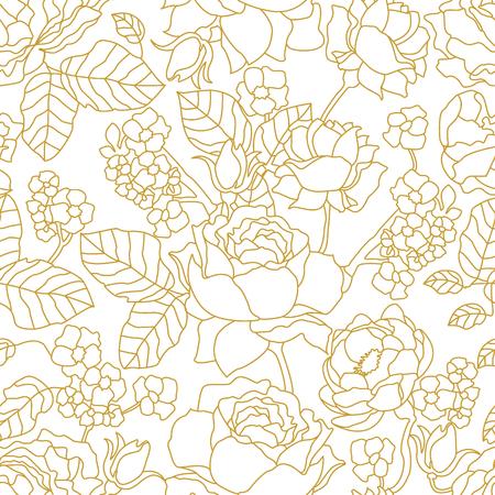 美術装飾スタイル花要素とシームレスなベクトル パターン。テキスタイル デザインの印刷、包装、カードはカバーしています。  イラスト・ベクター素材