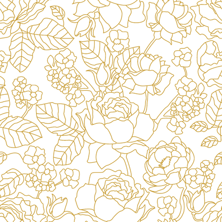 Seamless vector pattern with art decor style floral elements. Print for textile design, packaging, cards, covers. Vectores