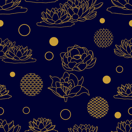 Golden seamless floral pattern with Indian and oriental motifs.