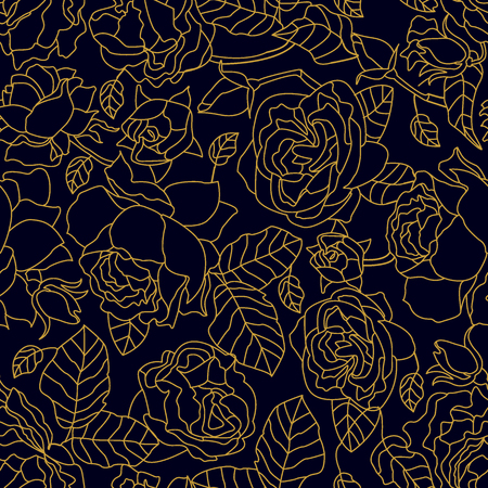 Seamless vector pattern with Art Deco style floral elements. Print for textile design, packaging, cards, covers.