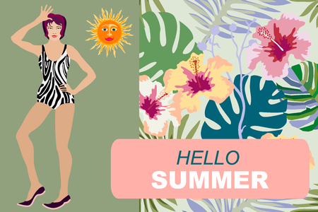 Asian girl in bikini and tropical floral background. Illustration