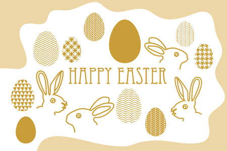 Decorated eggs, rabbits and golden spring prints.