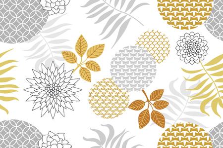 Fiori astratti, foglie di palma e ornamenti geometrici con motivi orientali. Archivio Fotografico - 93553057