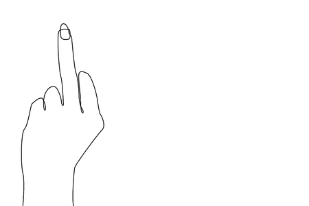 Continuous line drawing. Hand showing middle finger.