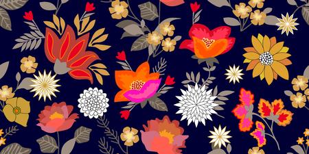 Botanical print on black background. Vintage textile collection. Illustration