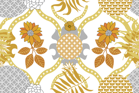 Golden ornaments with Indian, Arabic and Turkish motifs, leaves and flowers.