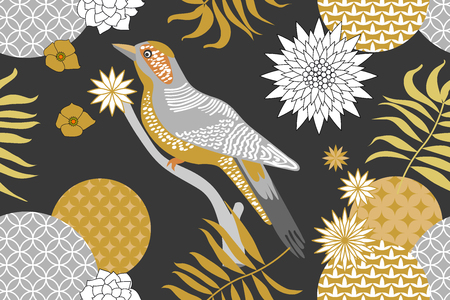 Abstract flowers and palm leaves on grey background. Oriental textile collection.