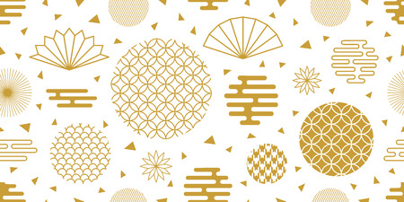 Ornate circles seamless vector pattern with other geometric elements, white and gold. Illustration