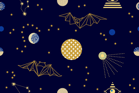 Seamless vector pattern with stars, planets and constellations.