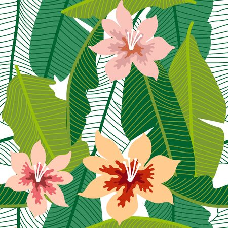 A Seamless botanical pattern with aloha motifs. Trendy design for textile, cards and invitations.