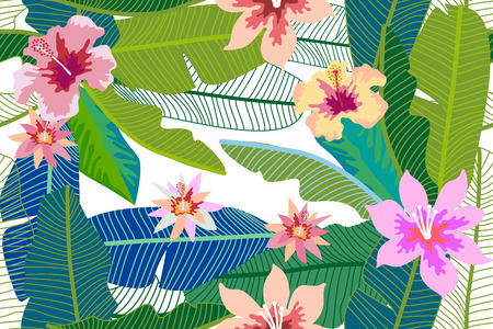 Seamless botanical pattern with aloha motifs. Modern design for textile, cards and invitations.