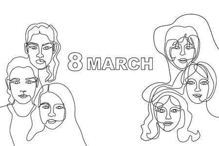Linear women faces and slogan 8 March.