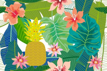 Seamless colorful botanical pattern. 일러스트