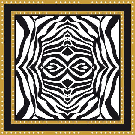 Trendy animal pattern with Art Deco motifs. Black, white, golden Vector illustration.