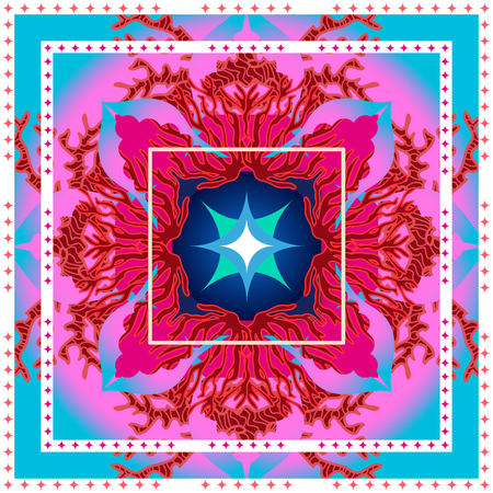 Arabesque ornament and corals on colorful background. Oriental textile collection.